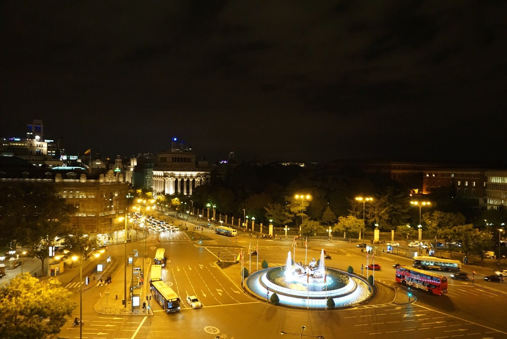 Night shot over Paseo del Prado - A Madrid Self Guided Photography Tour