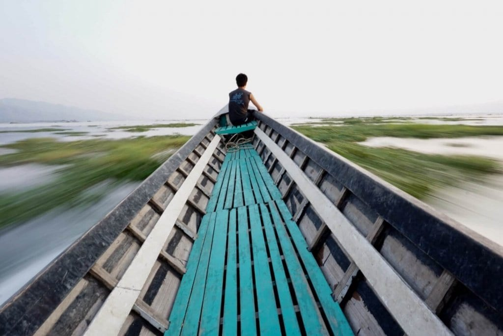 Taking a boat in Inle Lake