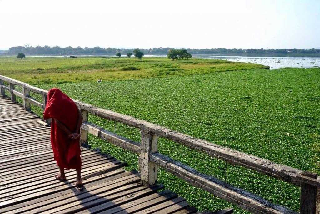 Backpacking Myanmar: Monk on U Bein