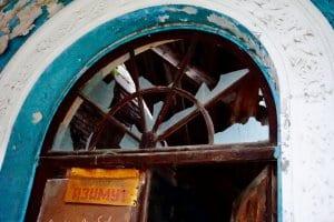 Broken glass in an abandoned Gagra building