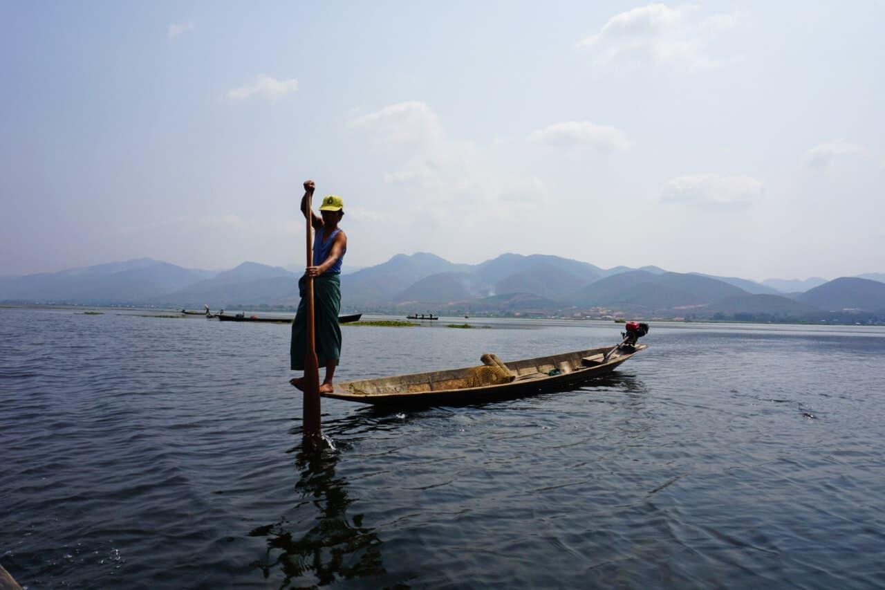 fisherman rowing Lake Inle Burma