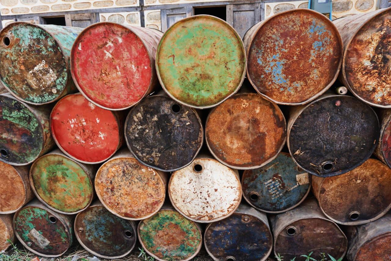 Myanmar photos colorful barrels town