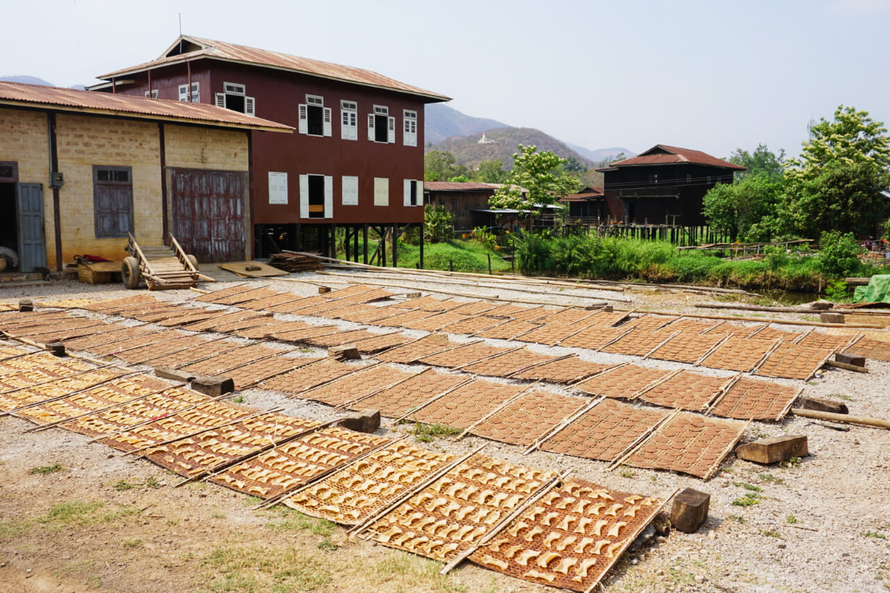 Myanmar photos tofu drying on Lake Inle town