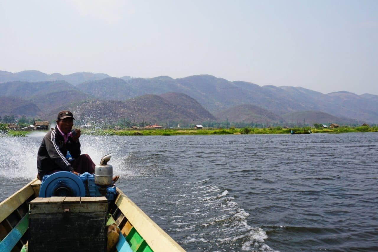 Myanmar photos boat on Inle Burma