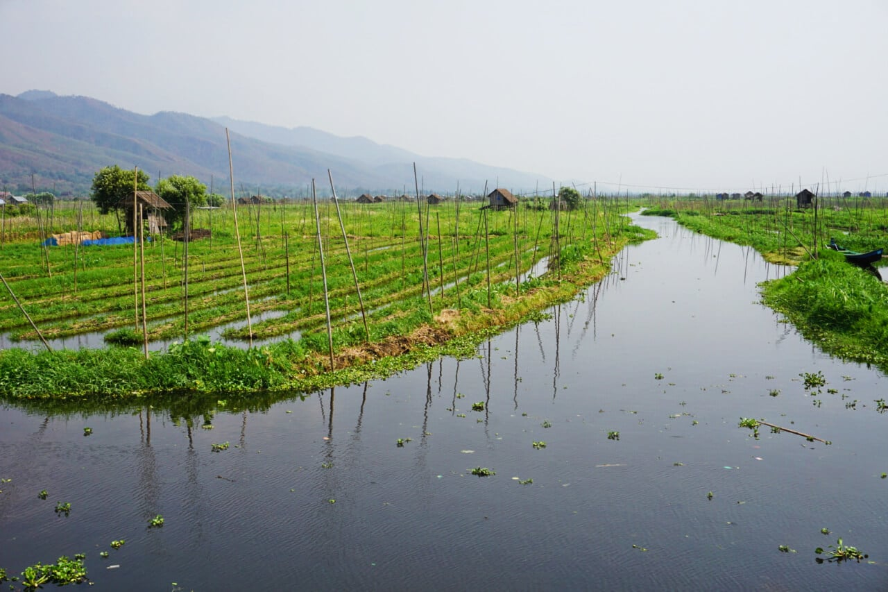 Myanmar photos farms on Lake Inle Burma