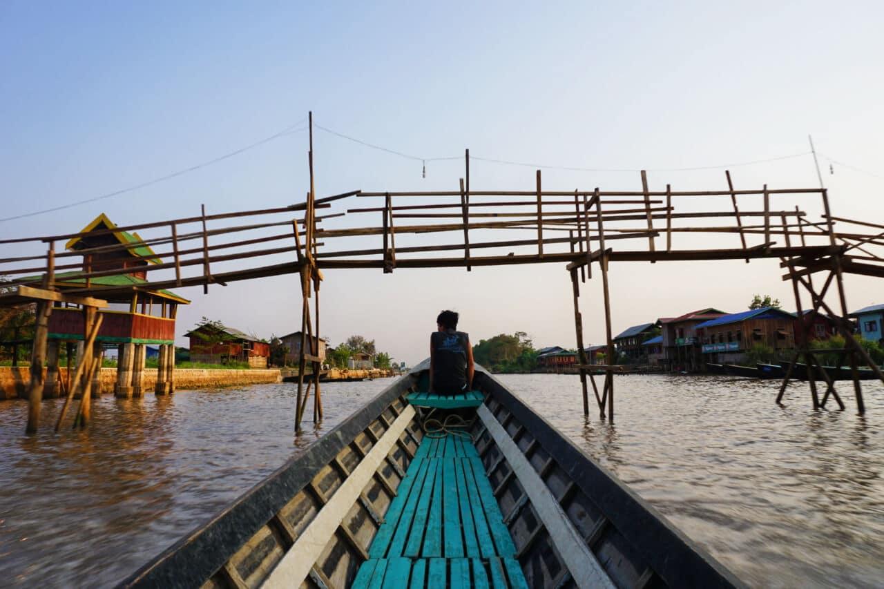 Myanmar photos boat on Lake Inle Burma