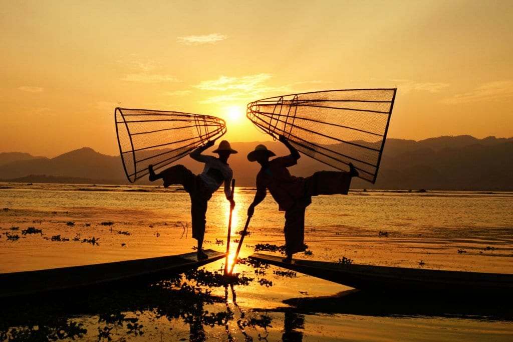 Fishermen posing on Lake Inle, Myanmar
