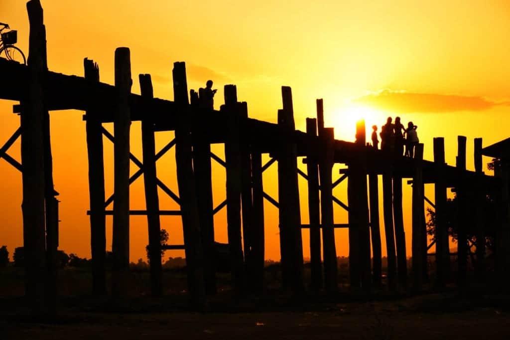 Myanmar photos the Mandalay teak bridge