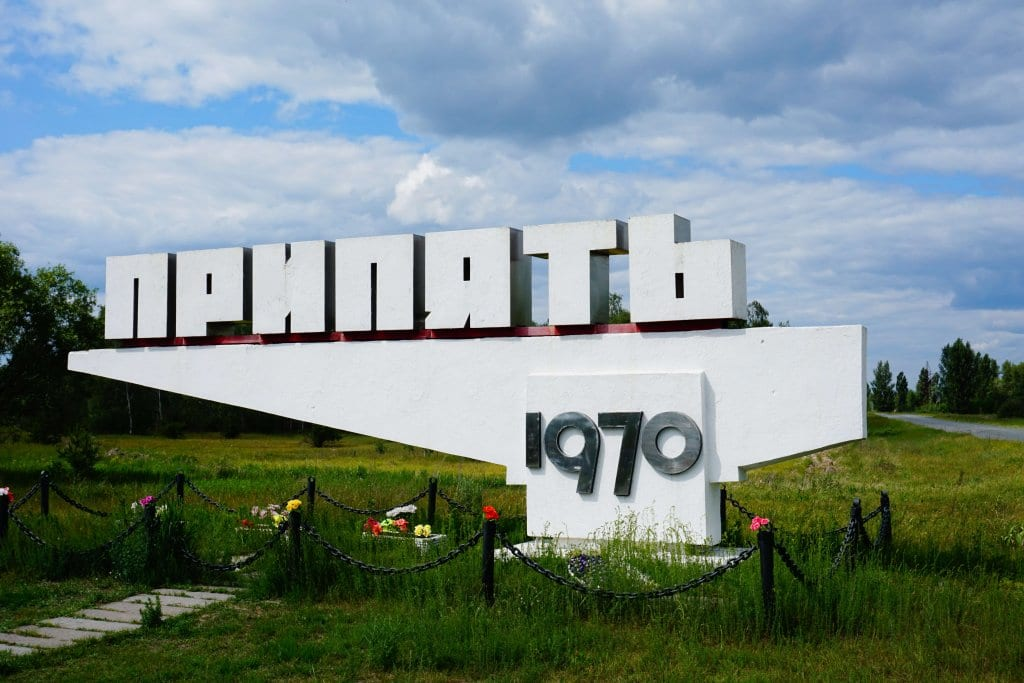 Chernobyl tours: Pripyat town sign