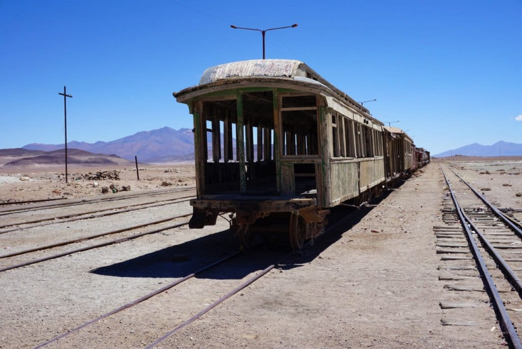 Abandoned train in Bolivian desert near Uyuni