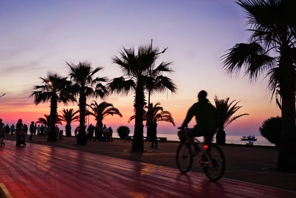 Batumi's boardwalk at sunset