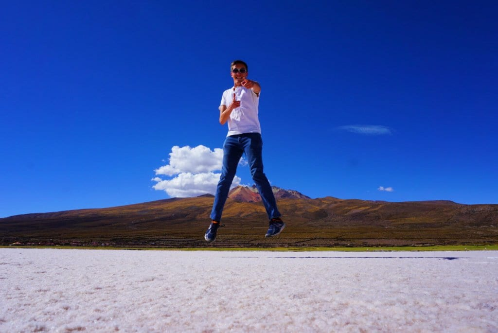 Jumping on the Bolivian Salt Flats