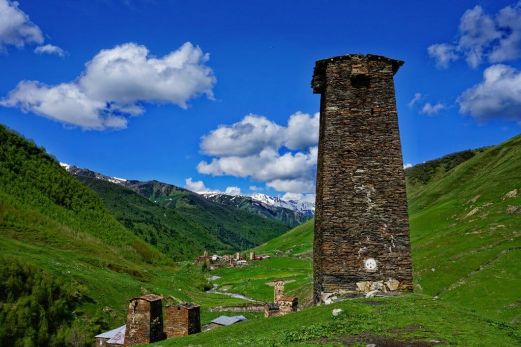 A watchtower in Svaneti: One of the coolest things to do in Georgia Europe