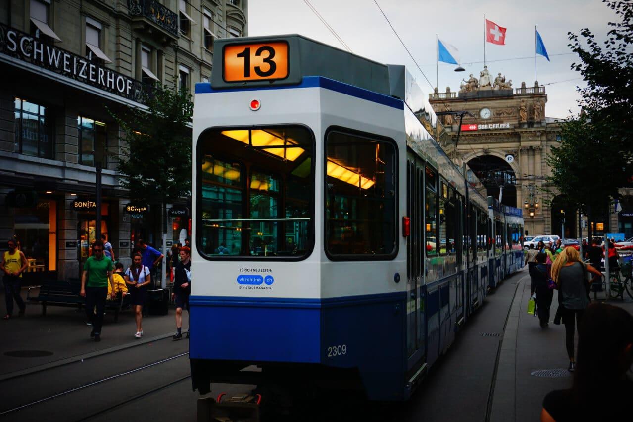 A tram in Zurich