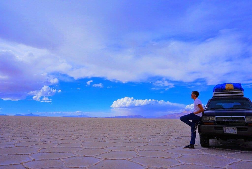 Me and a jeep on the Uyuni salt flats