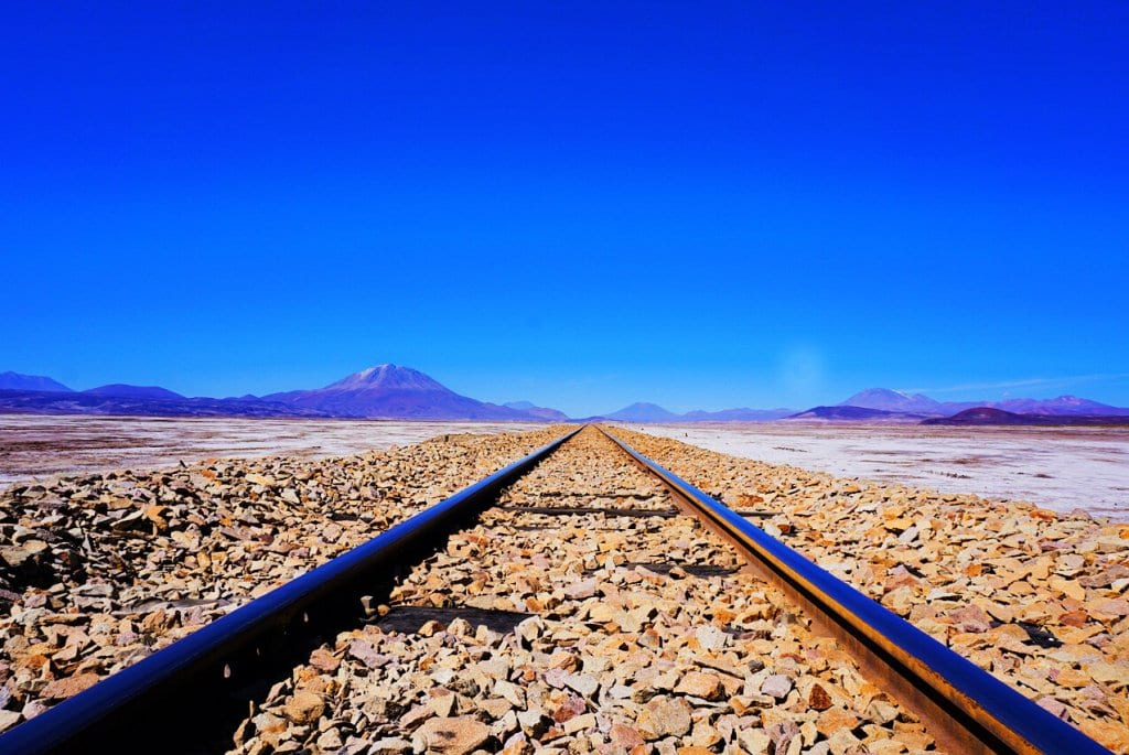 Train tracks in Bolivian salt flats