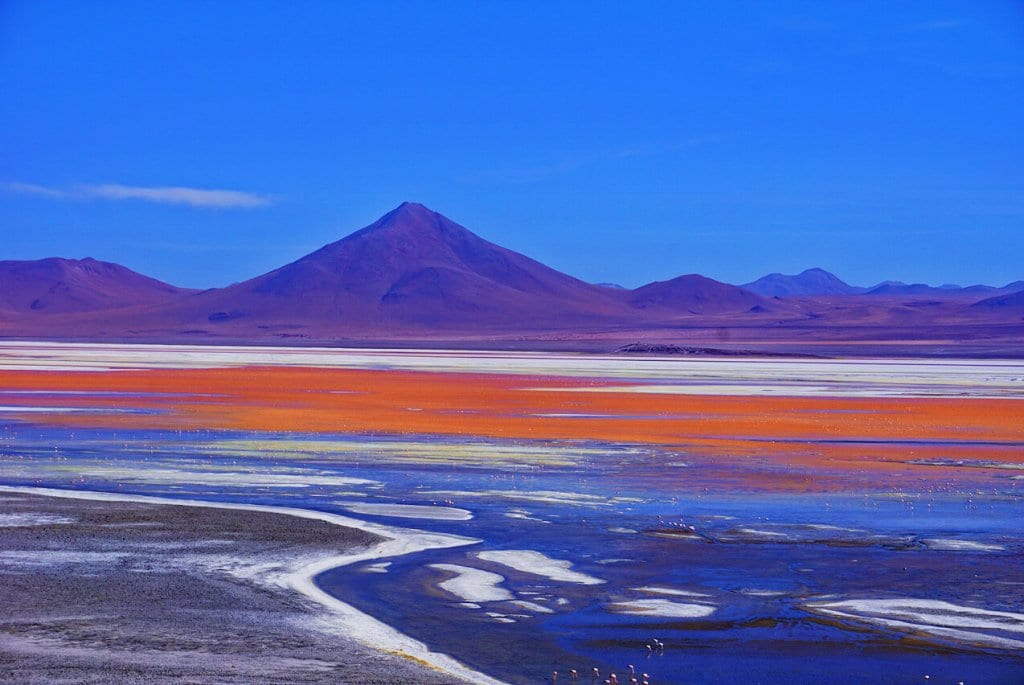 The colorful lagoons in Bolivia