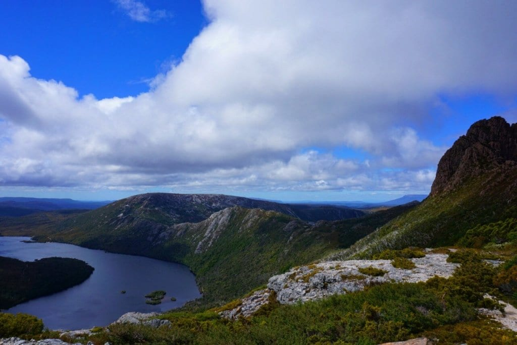 The view on the hike up Cradle Mountain in Tasmania