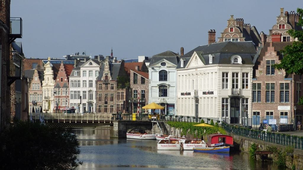 A river and houses in Ghent