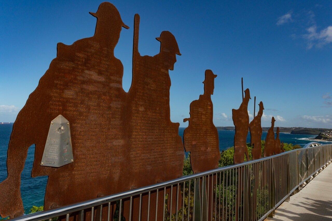 Steel figures along Newcaslte's Memorial Walk
