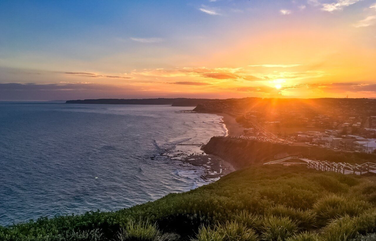A beautiful sunset looking over Merewether beach, Australia
