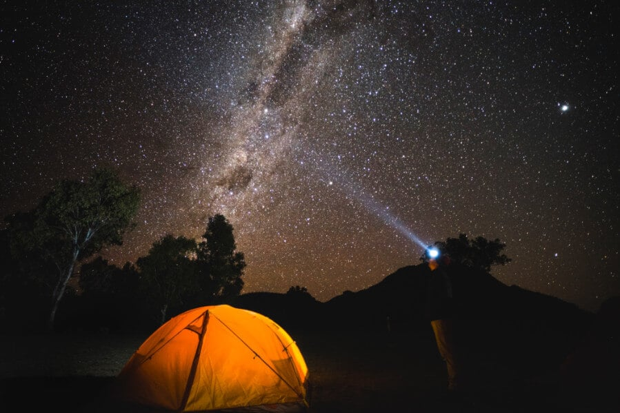 The night sky filled with bright stars over the dark sky park in the Warrumbungles.