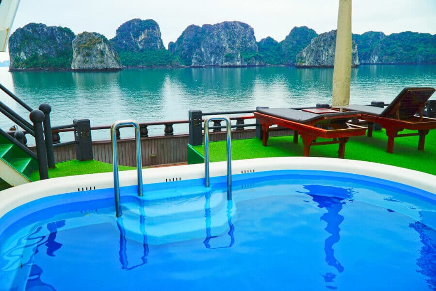 The pool on the Dragon Legend 2 - the best Bai Tu Long Bay Cruise Ship