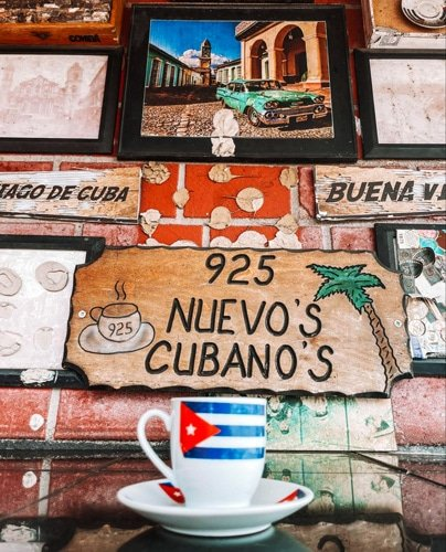 View of a cup and the wall in 925 Nuevo's Cubanos