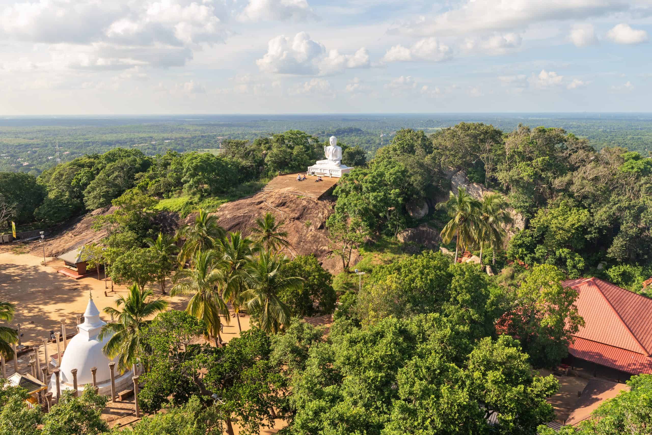 view of surroundings with white statue tourist attraction and trees in Anuradhapura, Sri Lanka