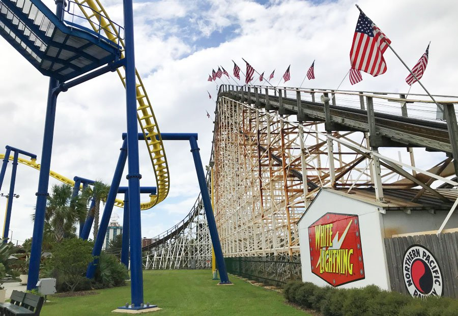 View of a thrilling ride in an amusement park