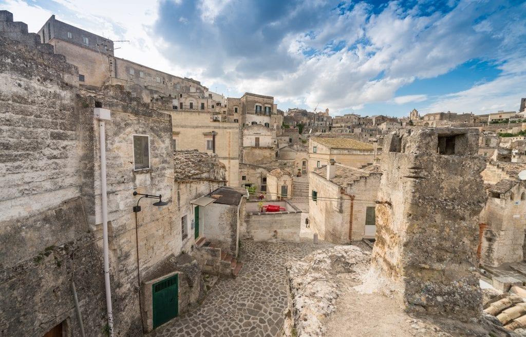 Ancient town of Matera (Sassi di Matera),  in beautiful golden morning light, Basilicata, southern Italy.