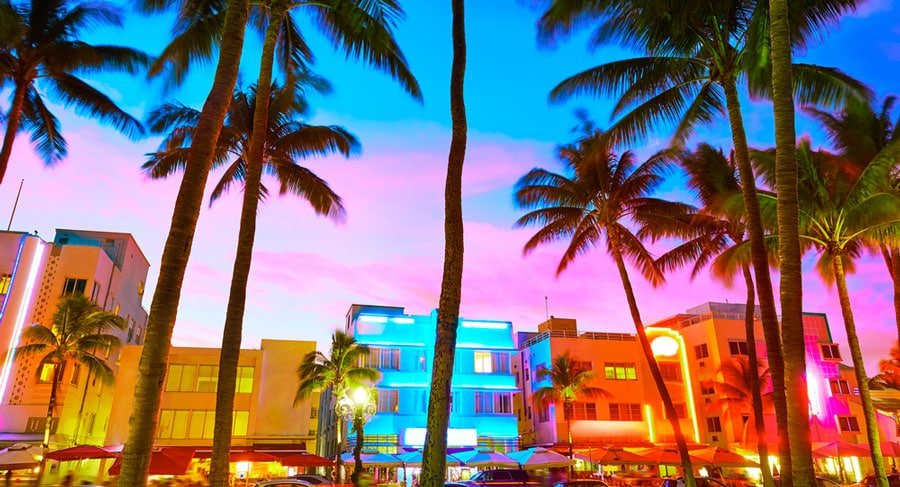The colorful sky during sunset at Miami South Beach