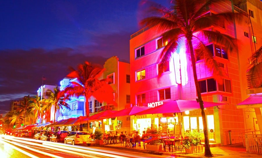 View of Art Deco District in Miami Beach at night