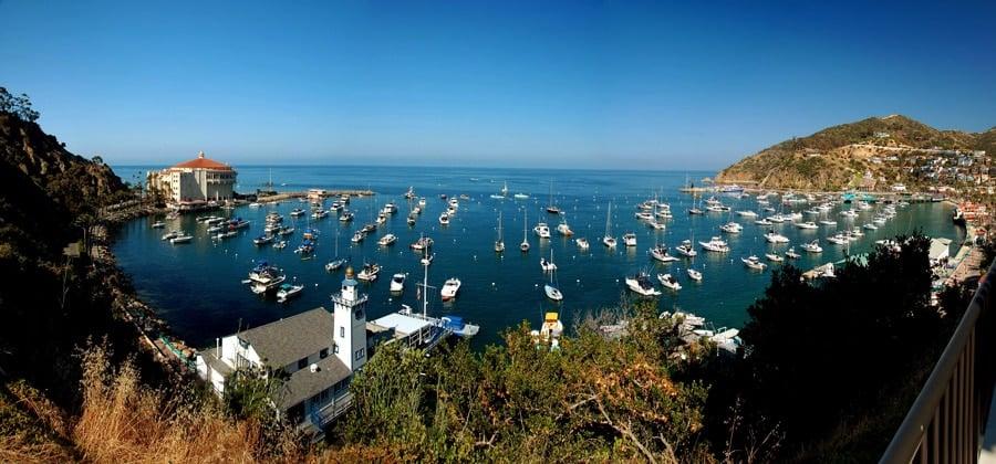 Panoramic view of the Avalon Bay in Santa Catalina Island