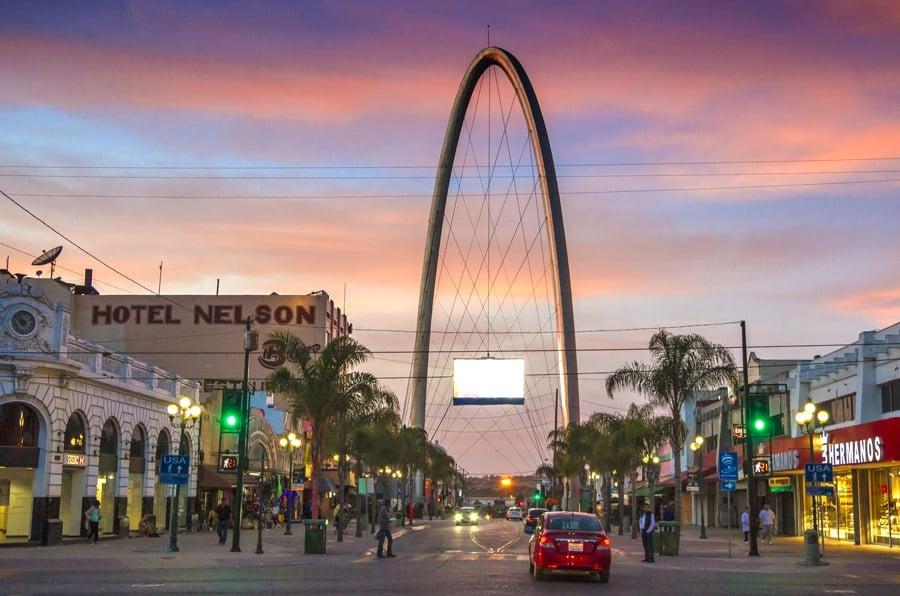 View of the street in Avenida Revolucion in Tijuana before night falls