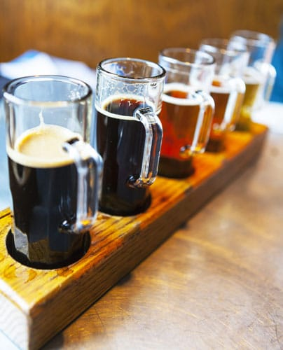 View of beer flight on a table