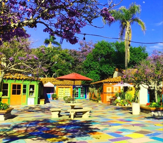 View of a colorful Spanish village in Balboa Park