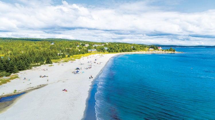aerial view of Bayswater Beach in Nova Scotia