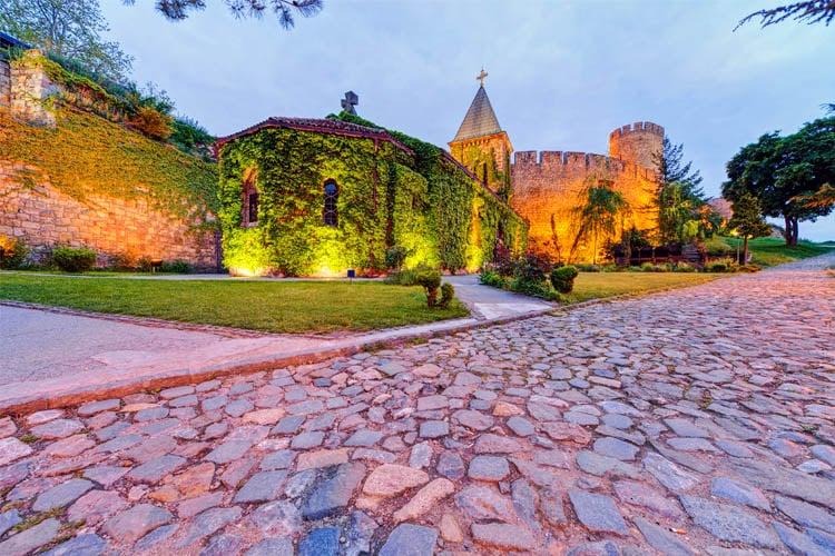 Belgrade Fortress and Kalemegdan Park with Ruzica Church at Night