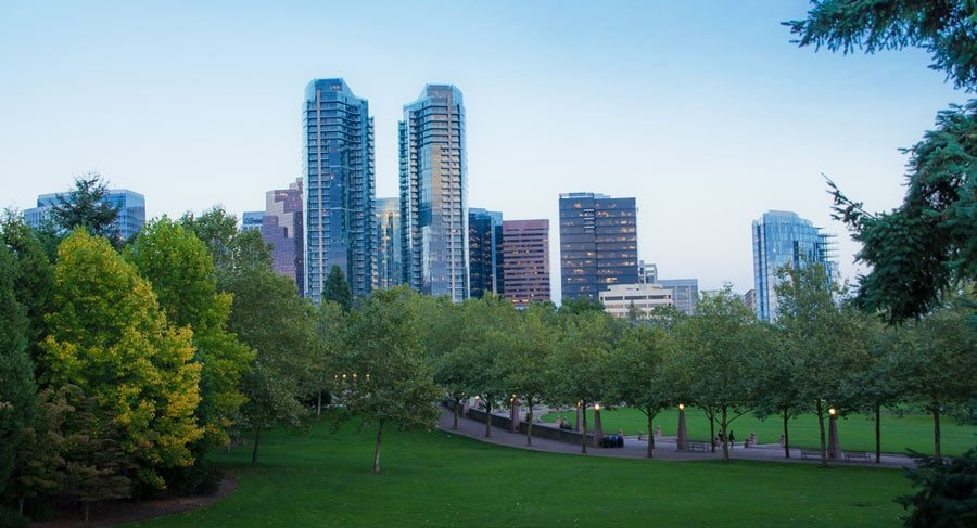 View of the Bellevue Downtown Park before night time