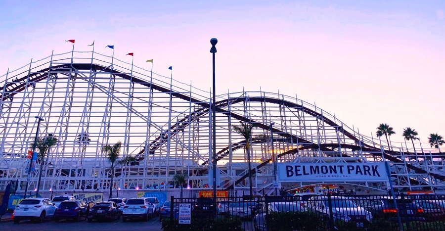 View of the roller coaster in Belmont Park