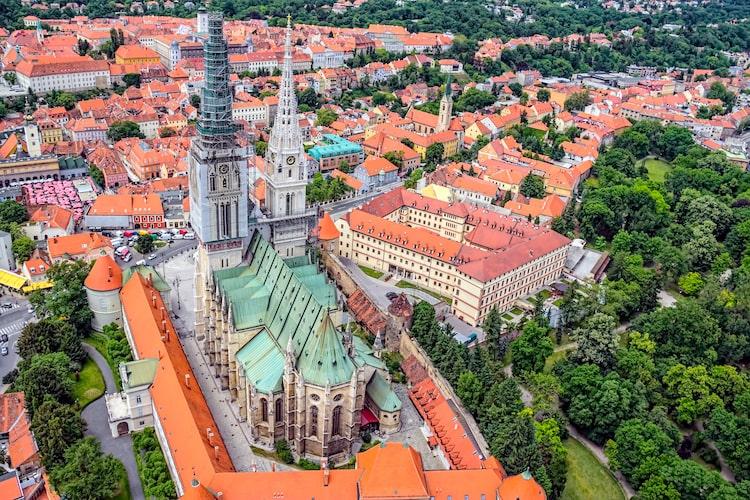 An aerial shot of Zagreb, Croatia