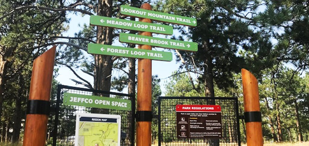 View of signage for different hiking trails near Denver, Colorado