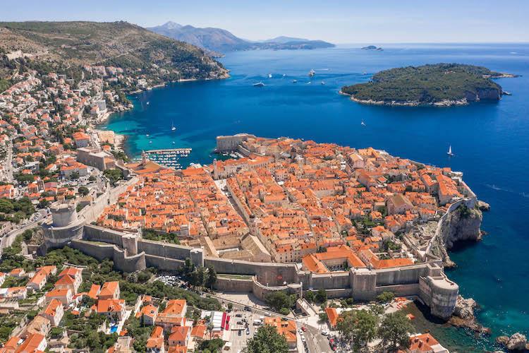 Aerial drone shot of Otok Lokrum in Adriatic sea near Dubrovnik Old Town