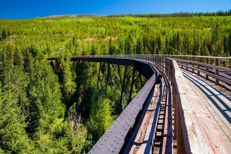 An aboveground railway track runs in the Okanagan Valley of British Columbia