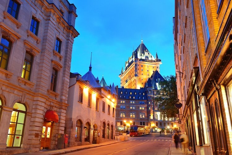A nighttime shot of Quebec City's Old Town, Quebec