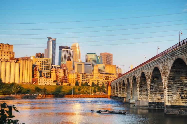 The skyline, river, and downtown bridge of Saskatoon, Saskatchewan