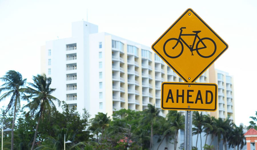 View of a bike track sign in San Juan