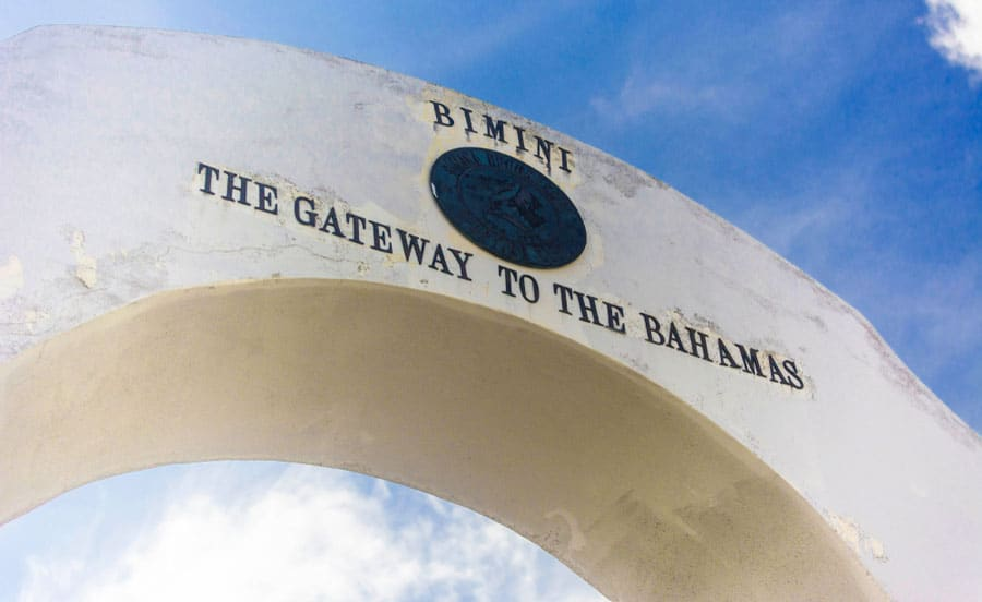 The welcome sign of Bimini Islands