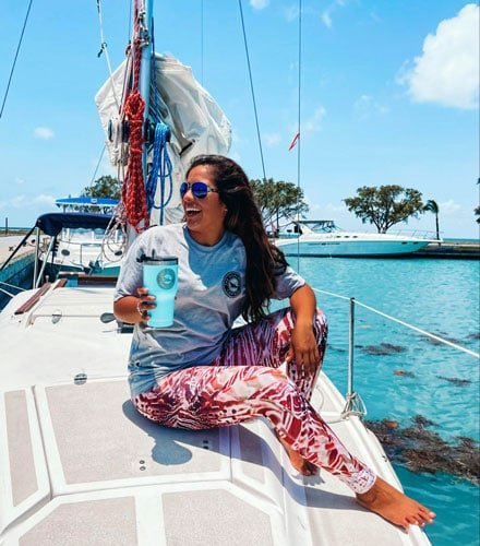 Andrew's wife on a sailing boat in Biscayne National Park